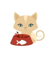 Kitten blue eyes plate food fish print vector
