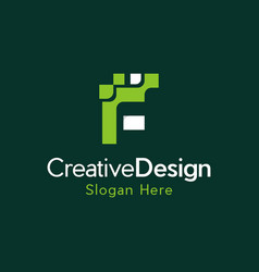 letter f digital pixel creative modern logo vector image