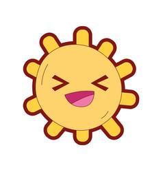 line color cheerful sun with lights ray kawaii vector image