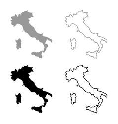 map of italy icon set grey black color vector image