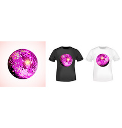 mirror disco ball t-shirt print stamp for tee t vector image