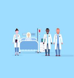 mix race doctors team visiting patient senior vector image