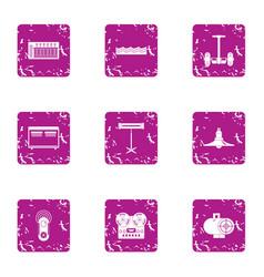 Modern recreational icons set grunge style vector