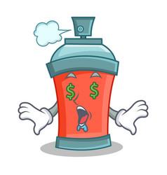 Money eye aerosol spray can character cartoon vector