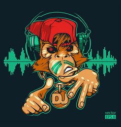 Monkey dj rapper vector