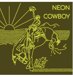 neon cowboy vector image