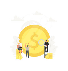 Office people stand on money clean up and build vector