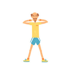 Old man standing with feet shoulder-width apart vector