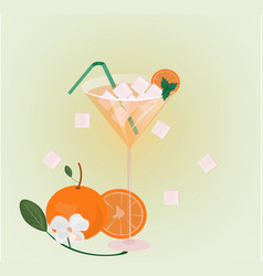 Orange fruits fresh cocktail glass summer drink vector