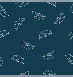 origami paper boat seamless pattern vector image