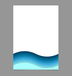 Page template from blue wavy striped layers vector