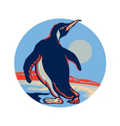 Penguin Walking Moon Retro vector