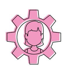 Person inside gear vector