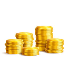 Piles of golden metal coins isolated vector
