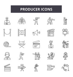producer line icons signs set linear vector image