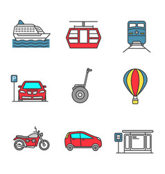 Public transport color icons set vector