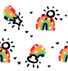 rainbow rain cloud and star seamless pattern vector image