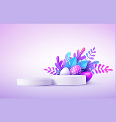 realistic product podium with easter eggs vector image