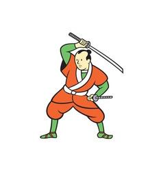 Samurai Warrior Wielding Katana Sword Cartoon vector image