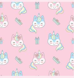 seamless pattern merry christmas unicorn on pink vector image