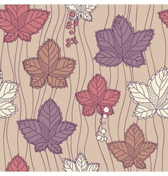 Seamless pattern with leaves and berries vector image