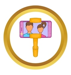Selfie stick with mobile phone icon vector image