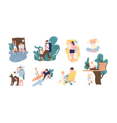 Set adorable pair father and son spending vector
