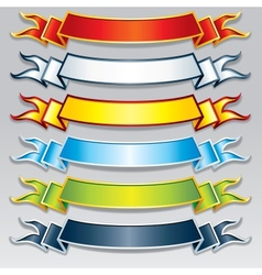 set colorful ribbons and banners image vector image