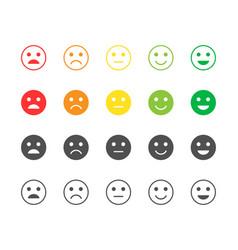 Set feedback rating red orange green vector