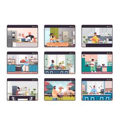 Set mix race people preparing food at home online vector