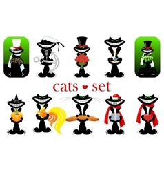 Set of cats isolated vector