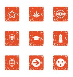 shielding icons set grunge style vector image