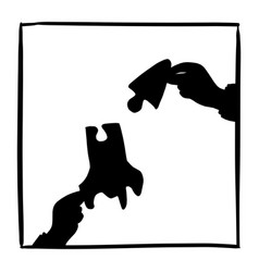 silhouette hand businessman holding jigsaw vector image