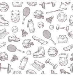Sports equipment seamless pattern basketball vector