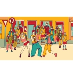 Street dance people group city color vector