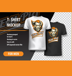t-shirt template fully editable with evil pig vector image
