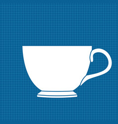 tea cup white outline icon on blueprint vector image