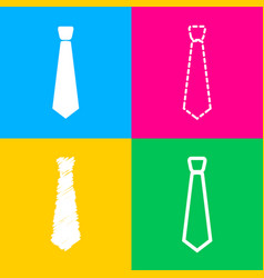 Tie sign four styles of icon on four vector