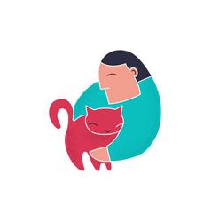 trendy cartoon man holding red cat line art vector image