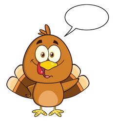 turkey bird character waving with speech bubble vector image