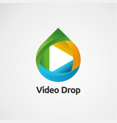Video drop logo with fun concept icon element and vector
