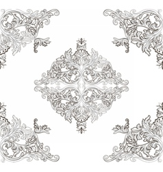 Vintage Baroque ornament floral pattern vector image