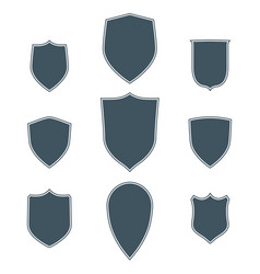 Vintage shields set with white stroke isolated vector
