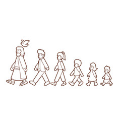 walk with jesus follow jesus vector image