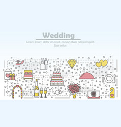 Wedding advertising flat line art vector