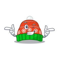Wink winter hat in mascot shape vector