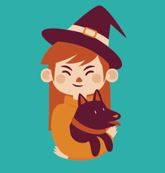 Witch Holding Dog vector image
