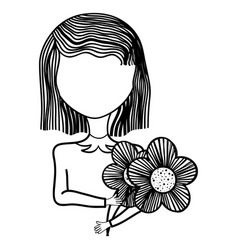 woman with flower caricature icon vector image