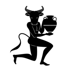 Zodiac in the style of ancient greece taurus vector