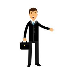 businessman cartoon character in black suit vector image vector image